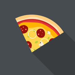 Piece of Italian pizza - flat design. Vector Illustration...