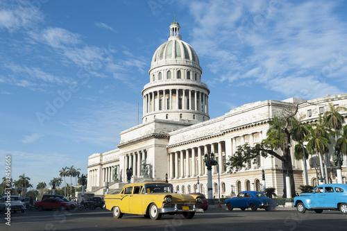 Poster Havana Cuba Capitolio Building with Cars