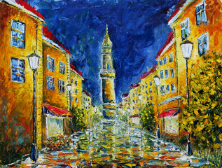 Original oil painting Lonely rainy night street.