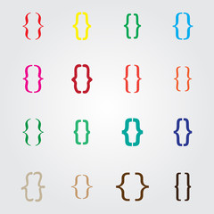 Set of curly colored different bracket icons Vector illustration