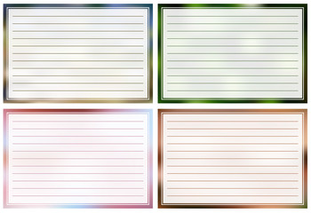 Lined cards in different colors