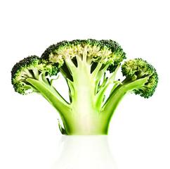 Broccoli cutaway on white