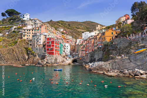 Leinwandbild Motiv Riomaggiore town on the coast of Ligurian Sea, Italy