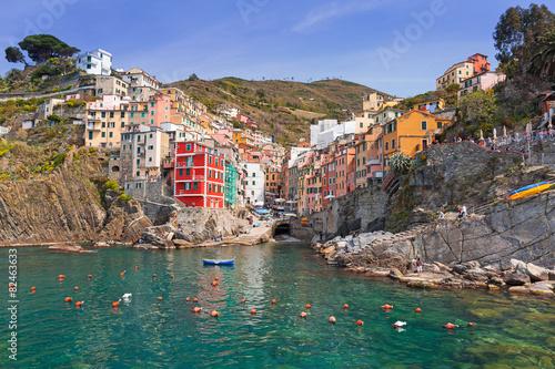 Riomaggiore town on the coast of Ligurian Sea, Italy - 82463633