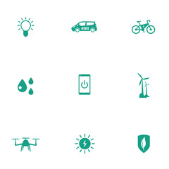 Green ecological modern technologies flat icons, vector, eps10