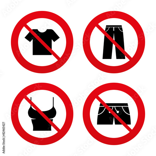 Clothes signs. T-shirt and pants with shorts. - 82465427