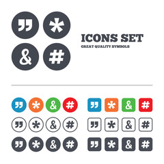 Quote, asterisk footnote icons. Hashtag symbol.