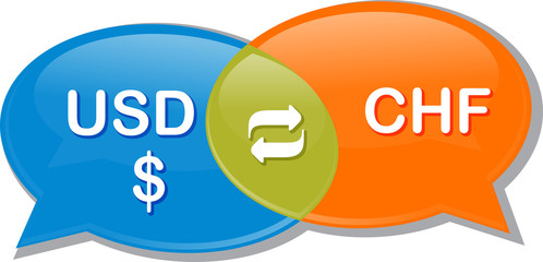 USD CHF Currency exchange rate conversation negotiation Illustra