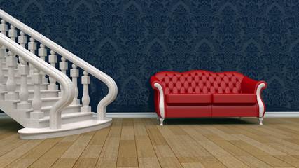 Интерьер с классическим диваном и лестницей с балясинами.