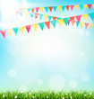 Celebration background with buntings grass and sunlight on sky b - 82467229