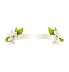 Festive satin ribbon garland flag with cherry flowers isolated o