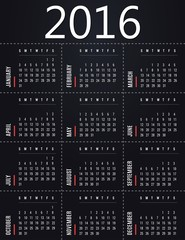 Simple 2016 calendar template - black design