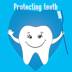 Happy Tooth and tooth brushes, tooth protection