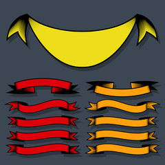 Set of design elements banners ribbons. Vector illustration.