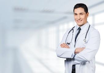 Doctor. Senior doctor on white background