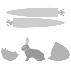 Grey rabbit hatched from an egg and carrot frames on white backg