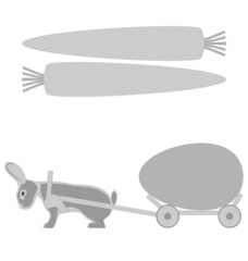 Grey rabbit pulls a cart with egg and carrot frames on white bac