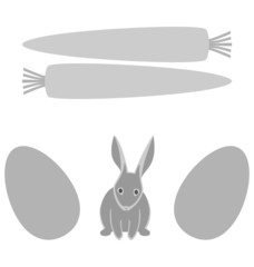 Grey rabbit with eggs and carrot frames isolated on white backgr