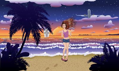 Fashion Girl on the Beach