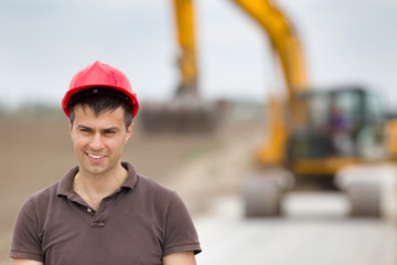 Engineer on road construction site