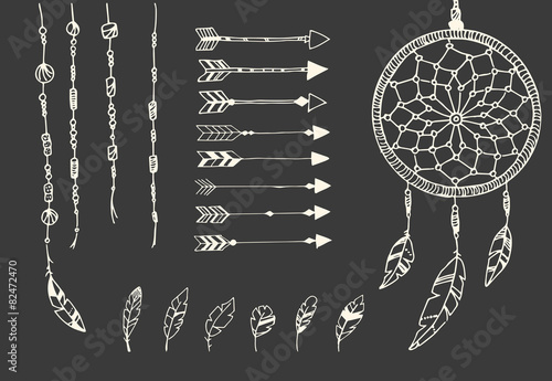 Hand drawn native american feathers, dream catcher, beads - 82472470