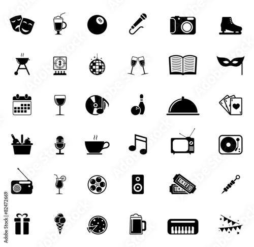 Icons set entertainment