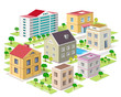 Set of detailed isometric city buildings. 3d city - 82473032