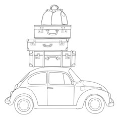Auto travel retro car with luggage on the roof