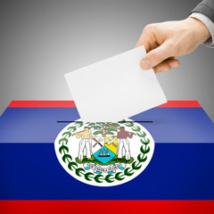 Ballot box painted into national flag - Belize