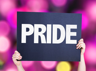 Pride card with pink bokeh background