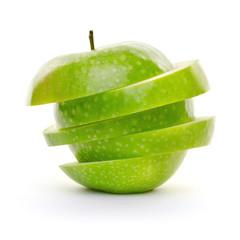 Gestapelte Apfelscheiben grün