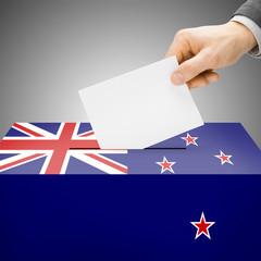 Ballot box painted into national flag - New Zealand