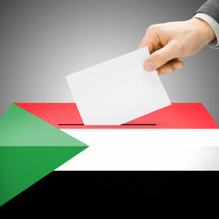 Ballot box painted into national flag - Sudan