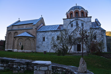 White marble church from 12. century inside Studenica monastery
