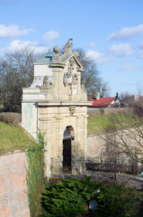stone gate leading to the vysehrad castle in prague