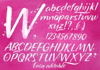 Modern alphabet pink background.