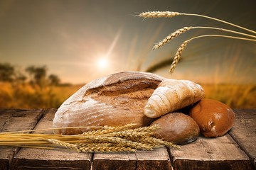 Bakery. Assorted Breads with wheat isolated