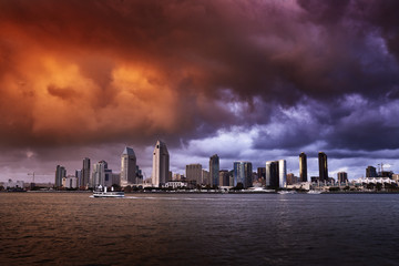 san diego california skyline with dramatic clouds and colors
