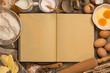 Leinwandbild Motiv Blank Recipe Book - Baking - Space for Text