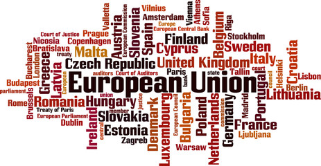 European Union word cloud concept. Vector illustration