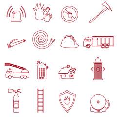 fire brigade outline red icons set eps10
