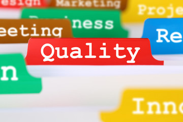 Quality control and management register in business concept serv