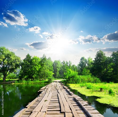 Bridge and silent river - 82487428