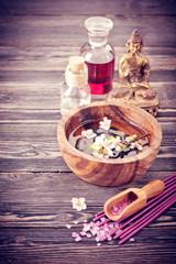 Spa aromatherapy set. Sea salt, rose essential oil, incense