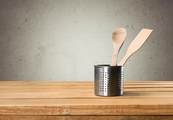 Kitchen. Kitchen utensils on wooden table