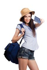 Portrait of happy tourist woman holding passport on holiday
