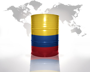 barrel with colombian flag