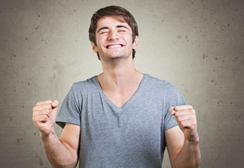 Winner. Portrait Of Excited Young�Man, Outdoor
