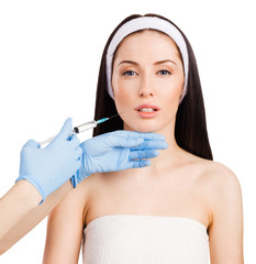 Cosmetic injection in the female face.