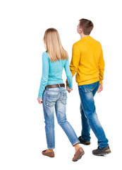 Back view going couple. walking friendly girl and guy holding h